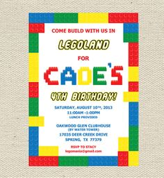 Lego Birthday Invitation Printable