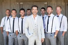groomsmen in vintage chic attire. Love this idea! Groomsmen would wear a purple tie and of course a belt and groom will not have the jacket on. It can be perfect