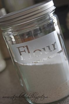 How to etch glass jars. Great idea for kitchen storage!