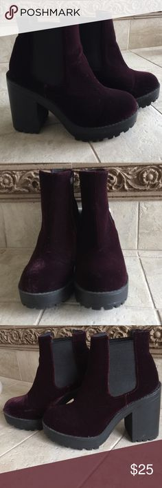 """Plumb Beauties! Soft velour type fabric with thick rubber soles. Elastic on both sides of the ankle, heel measures almost 4"""" minus 1"""" for platform. H&M Shoes"""