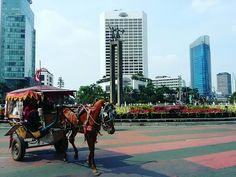 Jakarta, Indonesia  Jakarta is the capital city of Indonesia. You can see this interesting moment free of car on sunday. Some traditional horse transportation (delman) could be around on this area  on sunday.