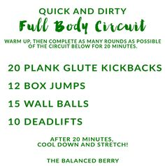 Quick and Dirty full body circuit. Work your entire body in just 20 minutes!