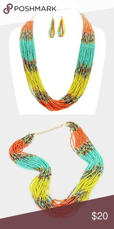 "Statement Necklace Set • Necklace Size : 24"" + 3"" L • Decor Size : 1"" L  • Earrings Size : 2.5"" L • Color block multi-strand seed bead necklace Jewelry Necklaces"
