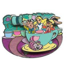 disneyland alice tea cup ride pin