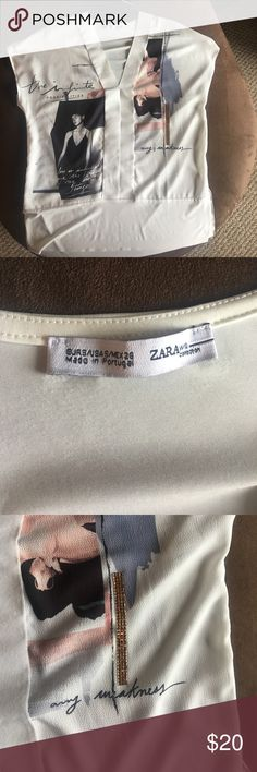 Zara Tshirt size S Worn one time, in excellent condition Zara Tops Tees - Short Sleeve