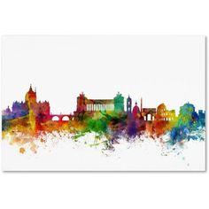 Trademark Fine Art Rome Italy Skyline White Canvas Art by Michael Tompsett, Size: 16 x 24, Multicolor