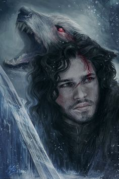 Jon Snow by jasric.deviantart.com on @deviantART Such a beautiful painting of Jon Snow and Ghost