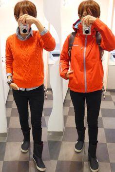 今日も雨だって言うから雨コーデ Jacket/patagonia Shirt/GAP Knite/GAP Bottoms/UNIQLO Bag/Jan Sport Shoes/The North Face Today is a rain style of black and red.