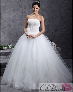 Beautiful Ball Gown Strapless Beading Floor-length Tulle Wedding Dress