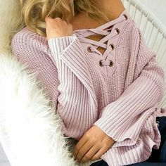 Lovely in plush pink with our Mindy Lace Up Sweater Top! ❤