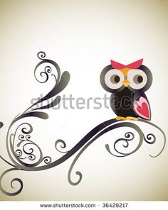 Small Owl Tattoos   Little Owl With Swirl Stock Vector 36429217 : Shutterstock