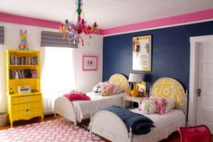 NAVY AND PINK Walls: Benjamin Moore – Cotton Balls, Down Pour Blue, and Peony above the picture rail. Trim Chantilly Lace.