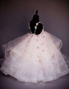 Petals Gown by Anna Triant Couture Frocks For Girls, Kids Frocks, Gowns For Girls, Kids Pageant Dresses, Baby Girl Party Dresses, Kid Dresses, Plum Flower Girl Dresses, Flower Girls, Little Girl Gowns