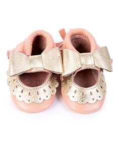 Another great find on #zulily! Pink & Gold Bow Leather Mary Jane Moccasin #zulilyfinds