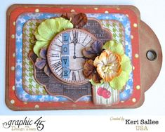 """Graphic 45 [Feb """"Times Nouveau"""" Kraft Tags Gift Card Holder (Full) by Keri Sallee [view 1 of ~ Graphic 45 Cards + Layouts. Graphic 45, Altered Books, Altered Art, Love Gifts, Art Journals, Scrapbooking Ideas, Gift Tags, Card Ideas, Layouts"""