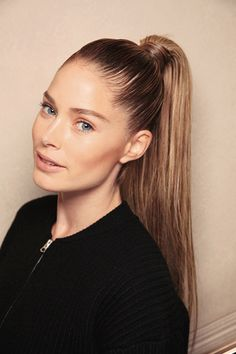 High Pony Slick hair with stick pomade for a fierce pony like supermodel Doutzen Kroes. And to make it extra perky (because who wants a flat ponytail?), here are 6 awesome tips.