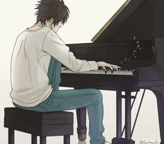 The reason why I love this fanart so much is the fact that I love L and I also play the piano. If an instrument were to symbolize a person I think the piano would symbolize L. It just seems to suit him so much. There is also the fact that in L's Theme in the Death Note soundtrack I get this feeling that the piano symbolizes him. This fanart, to me, holds a lot of meaning and symbolism.