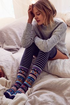 With winter cold upon us what better way to warm up and look stylish than with some gorgeous new winter socks? Over Knee Socks, Thigh High Socks, Thigh Highs, Knee Socks Outfits, Knee High Stockings, Winter Socks, Comfortable Outfits, Ladies Dress Design, Lounge Wear