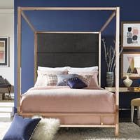 Natasha Modern and Contemporary Platform Canopy Bed - Overstock - 31227065 - King King Size Canopy Bed, Queen Canopy Bed, Canopy Bedroom, Master Bedrooms, Bedroom Sets, Bedroom Decor, Modern Canopy Bed, Metal Canopy Bed, Panel Headboard