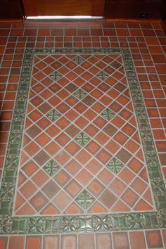 Saltillo Tile Rug In Lay Border Is Cut Pieces Of