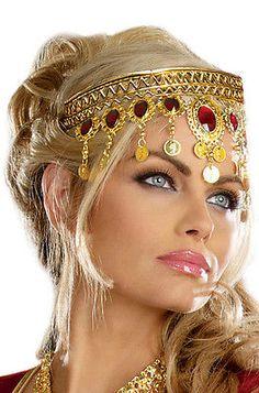 Egyptian Queen Goddess Renaissance Dripping Rubies Headpiece Costume Accessory