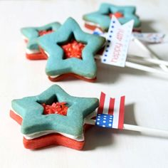 Red white and blue star sandwich cookies with pop rocks center ( could also do this in Cristmas colors )