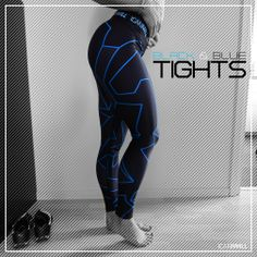 ICANIWILL Women Black / Blue Camo Tights