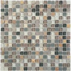 Bella Glass Tiles - Glass and Slate Series Northampton Putty 5/8 Mosaic Sample