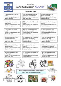 This worksheet contains 18 conversation cards and a matching exercise with pictures. The cards can be cut out if desired and be used as conversation questions. English Vocabulary, English Grammar, Teaching English, English Language, English Tips, English Lessons, Learn English, Conversation Questions, Conversation Topics