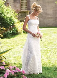 A-Line/Princess Scalloped Neck Floor-Length Chiffon Lace Wedding Dress With…