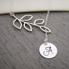 Branch Hand Stamped Initial Sterling Silver Lariat Style Bridesmaid Necklace / Gift for Her
