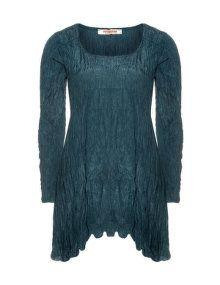Privatsachen Silk wrinkle dress in Petrol