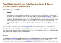 World Judo Day of Dyman Judo Club Association & Dyman Karate Associates International - October 28th is Jigoro Kano's Birthday .. Know more about our social media: http://dymanjudoclub.blogspot.com/  Know more about our social group: http://www.tabup.com/Dyman_Judo_Club/  Related Articles: http://togetter.com/li/597707 http://new.pitchengine.com/pitches/3426ca08-b39c-4c7c-a212-7be96529791c
