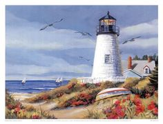 Lighthouse Harbor I Fine-Art Print by Kathleen Denis at FulcrumGallery.com