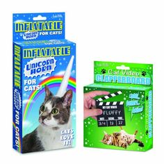 Inflatable Vinyl Unicorn Horn and Video Clapperboard Set to Make Your Cat the Next Break-out Video Star