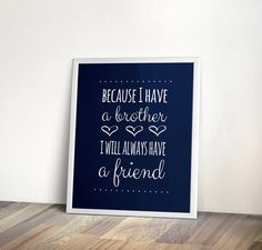 Brothers Quote, INSTANT download, navy, Nursery, brother, Printable Art, Digital file, nursery wall art, print brother quote, nursery art on Etsy, $5.00