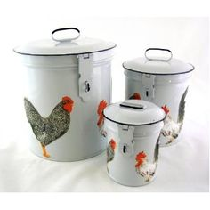French Country Canister Set ~ Kitchen Storage Canisters ~ Decorative Containers E4~ White Retro Enamel with Vintage French Roosters