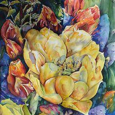 Watercolor Painting - Desert Glamour by Joy Skinner Prickly Pear Juice, Prickly Pear Cactus, Floral Watercolor, Watercolor Painting, Watercolors, Desert Life, Ocean Scenes, Boat Painting, Cactus Art