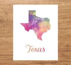 Texas Watercolor Fine Art Print, Watercolor Art, Texas Map Print, Watercolor Typography Art, State Wall Decor, Nursery, USA