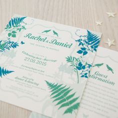 Wedding invitation - Fern © Paper Wedding From the Off-the-Rack collection: http://www.paperwedding.co.nz/#!off-the-rack-designs/c1dlq