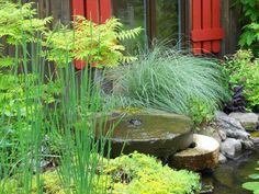 We used these Old Mill Stones to make a cool fountain along side this Water Garden. Water Garden, Porches, Pools, Fountain, Relax, Stones, Plants, Courtyards, Front Porches