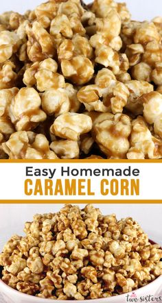 Easy Homemade Caramel Corn - buttery and caramel-y popcorn that tastes just the way it should. And don't worry - no corn syrup needed for this Caramel Popcorn recipe! Your family will ask you to make this popcorn treat again and again. Pin this yum Easy To Make Desserts, Köstliche Desserts, Easy Homemade Desserts, Easy Treats To Make, Desserts Caramel, Snacks To Make, Easy Snacks, Caramel Corn Recipes, Easy Caramel Popcorn