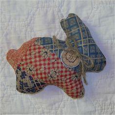 Early Old Crazy Quilt Primitive Feedsack Easter Bunny Rabbit Gathering Filler 9 | eBay