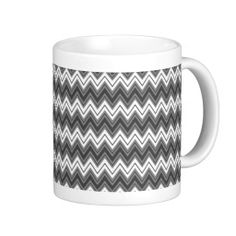 Black And White Monogram Chevron Geometric Pattern Coffee Mugs