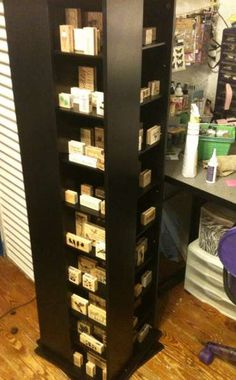 DVD case becomes storage for:  Rubber stamps, nail polish, acrylic paints, glitter, glue, etc...