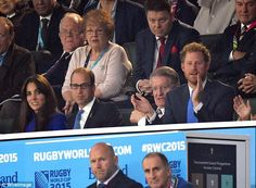Family time: Prince Harry spent the night at the opening of the World Rugby Cup  with his brother Prince William and his wife Kate