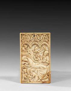Tablette à écrire en ivoire sculpté.XIVe siècle.PhotoBeaussant-Lefèvre
