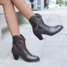 2021 New Women's Shoes Fashion Personality Elegant All-match Solid Color PU Woven Shoe Buckle Fringed Mid-heel Ankle Boots Thick Heel Boots, Mid Heel Ankle Boots, Thick Heels, Chunky Heels, Low Heels, Heeled Boots, Spike Heels, Boot Brands, Fashion Shoes
