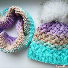 Градиентная шапочка с косами и снуд