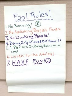 Really great pool safety tip: Make your own pool rules based on kids' ages and abilities and be really clear about them.